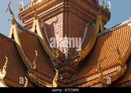Part of the roof of Wat Bupparam. Chiang Mai, Thailand. - Stock Photo