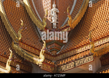 Richly decorated roof of Wat Bupparam. Chiang Mai, Thailand. - Stock Photo