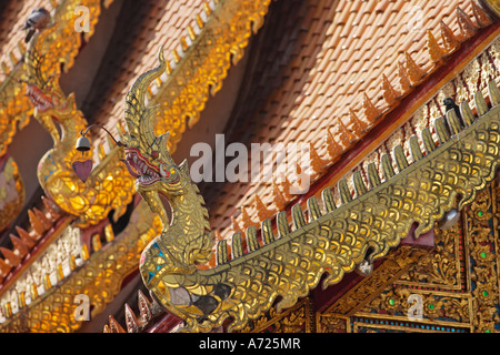 Fragment of the roof and finials. Wat Bupparam, Chiang Mai, Thailand. - Stock Photo