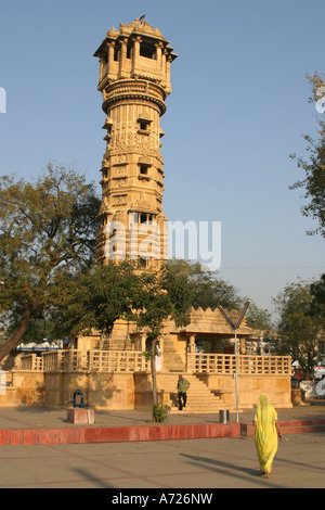 Carved red stone tower at the Hathee Singh Jain Temple Ahmedabad Gujarat India - Stock Photo
