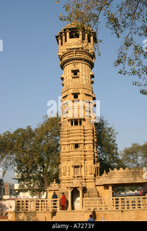 Tower at the Hathee Singh Temple ,Ahmedabad in Gujarat,India - Stock Photo