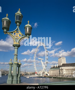 View from Westminster Bridge of the River Thames and London Eye - Stock Photo