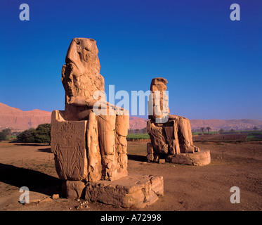 Colossi of Memnon on the West Bank of the Nile at Luxor Egypt - Stock Photo