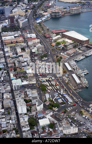 aerial view of Port Louis centre - Stock Photo