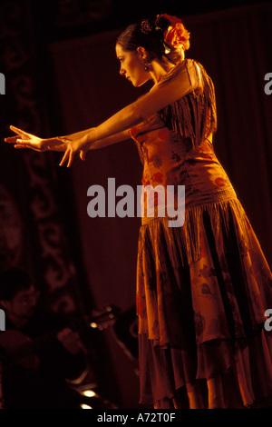 Spain, Andalucia, Cordoba, Woman in traditional flamenco dress at annual Feira de Abril (April Fair) - Stock Photo