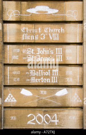 Rowing graffiti on walls of Christ Church College Oxford - Stock Photo