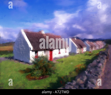 IE - CONNEMARA: Cottages at Tullycross - Stock Photo