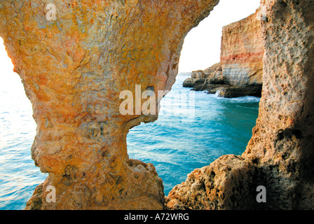 Portugal, Algarve: Cave Algar Seco in  Carvoeiro - Stock Photo