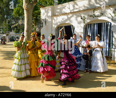 Girls Dancing Flamenco Jerez Horse Fair Jerez de la Frontera Andalusia Spain - Stock Photo