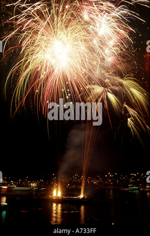 Fireworks Cowes Week Cowes Isle of Wight England - Stock Photo