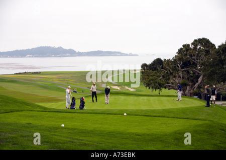 Pebble Beach Golf Course at Monterey near Carmel California USA - Stock Photo