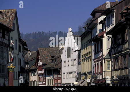 Europe, Switzerland, Schaffhausen, Stein am Rhein. Winter view of town buildings and Rathausplatz. - Stock Photo