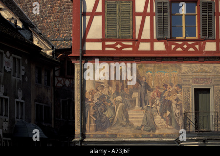 Europe, Switzerland, Schaffhausen, Stein Am Rhein. Winter. Details of the Rathaus, City Hall - Stock Photo