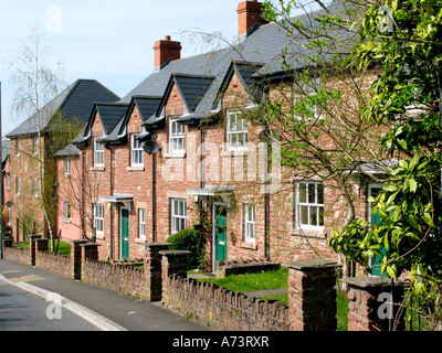 Newly built modern housing of traditional terraced cottage design in Crickhowell Powys Wales UK - Stock Photo