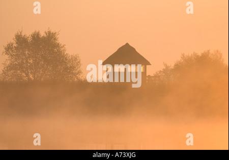 Misty Sunrise over Bird Observation Tower at Hickling Broad