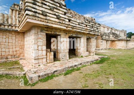 Cuadrangulo de los Pajaros quadrangle or square of the birds Maya archeological site Uxmal Yucatan Mexico - Stock Photo