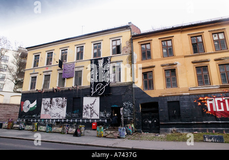 Youth occupied building in Oslo norway The building is occupied by the Blitz group - Stock Photo