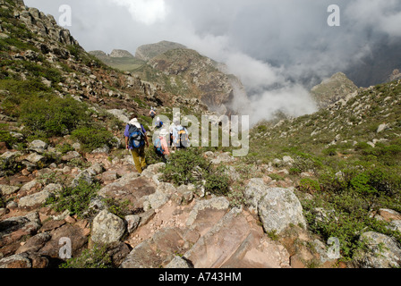 monsoon clouds over the Hagghier Haggier Mountains Socotra island Yemen - Stock Photo