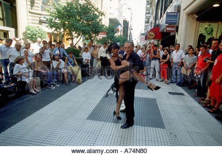 SA, Argentina, Buenos Aires. Professional tango dancers in the street. - Stock Photo
