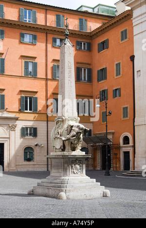 Obelisk of Santa Maria sopra Minerva in Palazzo Barberini Rome Italy - Stock Photo
