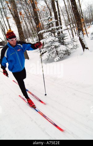 Cross county skier at Maplelag resort in Minnesota - Stock Photo