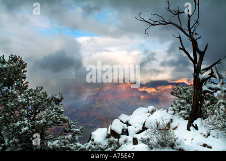 View of the Grand Canyon and a clearing winter storm from near Yavapai Point Arizona - Stock Photo