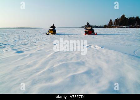Snowmobiling in Minnesota - Stock Photo