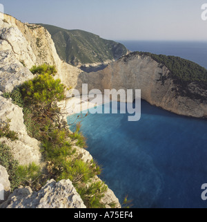 View from cliff top spectacular and deserted Shipwreck Bay and cove with nobody on sand beach Zakynthos The Greek - Stock Photo