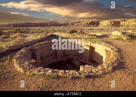 Ceremonial Kiva Pueblo del Arroyo Chaco Culture Historical Park New Mexico USA - Stock Photo