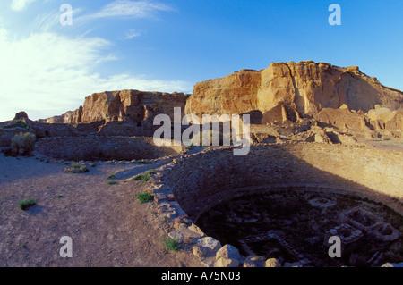 Ceremonial Kiva Pueblo Bonito Chaco Canyon Historical Park - Stock Photo