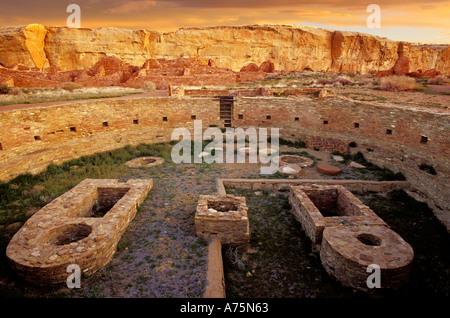 Great Kiva Chetro Ketl Chaco Culture Historical Park New Mexico USA - Stock Photo