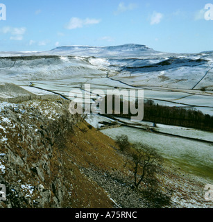 Pen-y-Ghent in winter from Moughton Scars, above Ribblesdale, Yorkshire Dales National Park, North Yorkshire, England, - Stock Photo