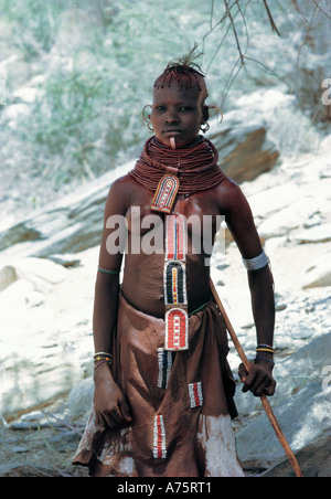 Young Turkana woman with in traditional dress Northern Kenya East Africa - Stock Photo