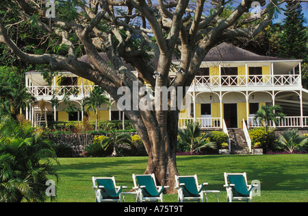 Ottley's Plantation Inn, a luxury hotel on a former sugarcane plantation on the Caribbean island of St. Kitts - Stock Photo