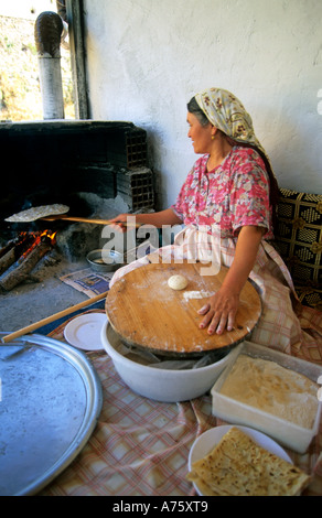turkey anatolia aegean coast hisaronu a woman preparing pancakes - Stock Photo