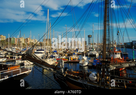 Old Port PORT VELL with 14th century shipyard DRASSENAS in Barcelona - Stock Photo