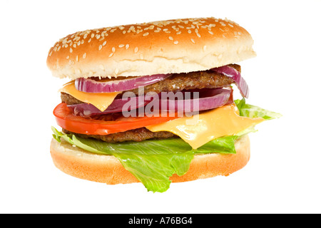 Double Beefburger with cheese and salad in a sesame seed bun on a pure white background. - Stock Photo
