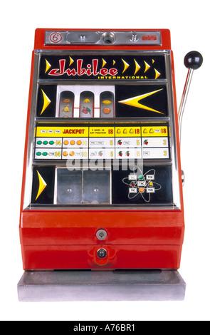 Children's miniature one arm bandit slot machine on a pure white background. - Stock Photo