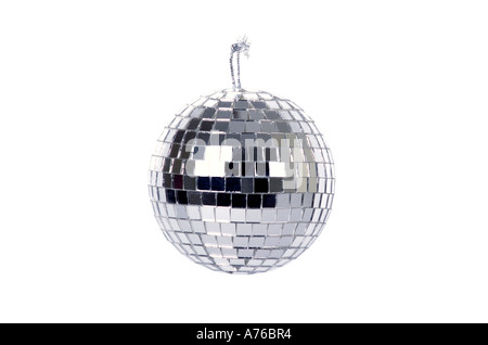 Seventies style disco mirrored glitter ball on a pure white background. - Stock Photo