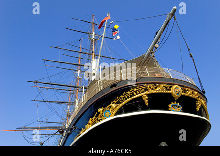 A close focus wide angle view of the stern of the Cutty Sark - now a museum ship in dry dock. - Stock Photo