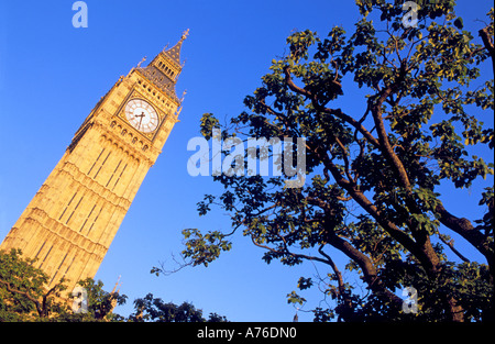 Abstract view of the Palace of Westminster clock tower with Big Ben in the summer against a pure blue sky. - Stock Photo