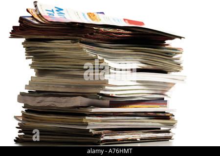 Stack of magazines, close-up - Stock Photo