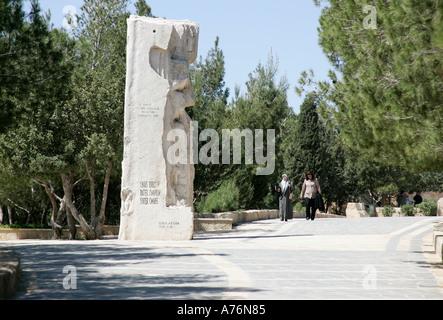 Obelisk commemorating Pope visit in 2000 to Mt.Nebo,Jordan. - Stock Photo