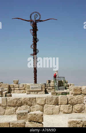 Giant cross on Mt Nebo,Jordan - Stock Photo