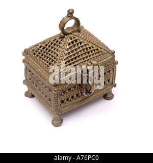 Metal Treasure chest artefact on white background - Stock Photo