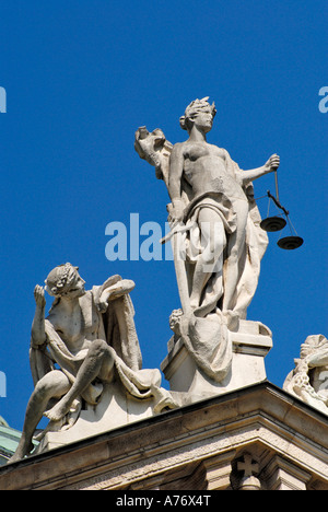 Lady Justice, Innocence on the palace of justice, Munich, Bavaria, Germany - Stock Photo