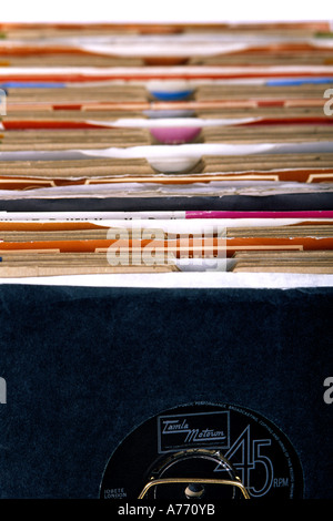 Close up of an old vinyl 45's record collection. - Stock Photo