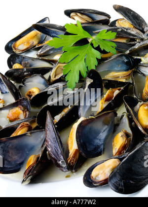 MUSSELS IN GARLIC BUTTER - Stock Photo