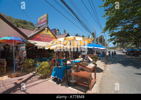 Restaurant on the main street at Nai Harn Beach, Phuket, Thailand - Stock Photo