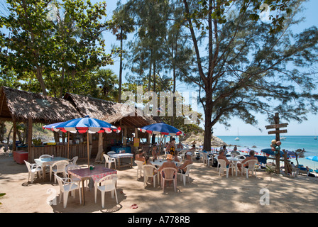 Beachfront Restaurant on Ya Noi Beach, Nai Harn, Phuket, Thailand - Stock Photo